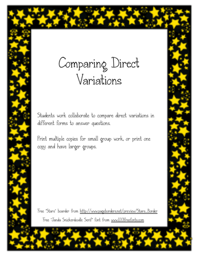 Compare Direct Variations Activity