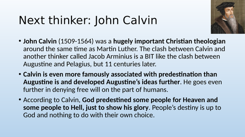 Eduqas / WJEC A Level Religious Studies - Ethics Theme 4A and 4D - Calvin and Arminius