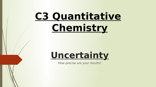 AQA GCSE 9-1 Chemistry and Trilogy Chemistry Uncertainty Calculations