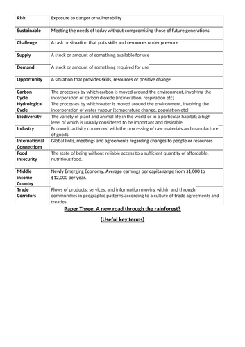 Key Terms for Paper 3 Geography 2019 (AQA)