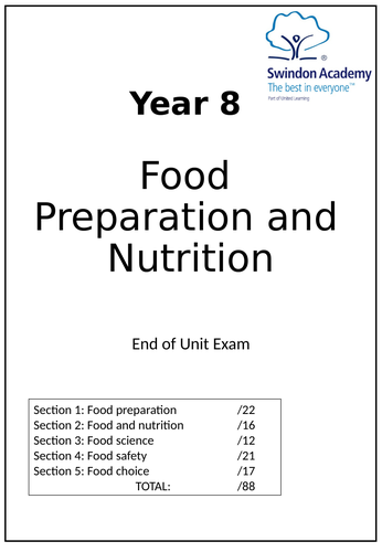 Yr8 Cooking Exam Test Food Catering with Answers by