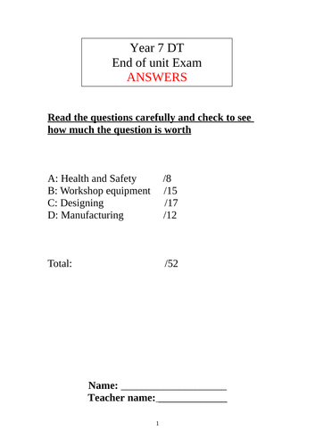 Yr 7 RM DT Exam Test paper with Answers resistant Materials