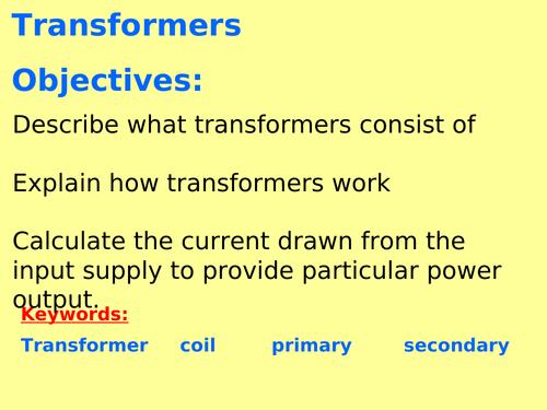 New AQA P7.5 (Physics GCSE spec 4.7) - Transformers (Triple only)
