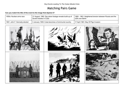 Matching Pairs - Cuban Missile Crisis Image Activity