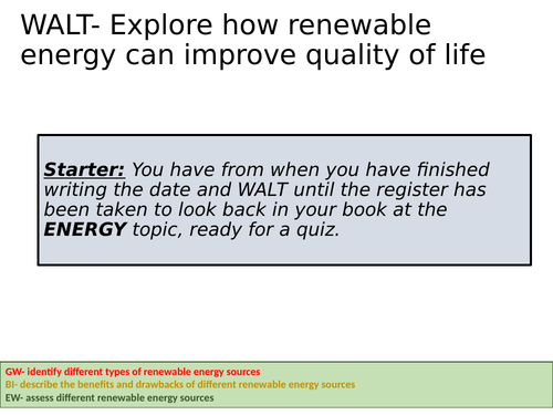 Non-Renewable and Renewable Energy quiz