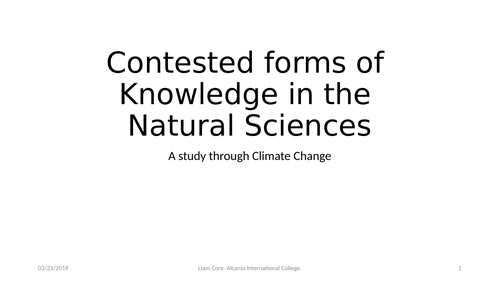 Theory of Knowledge: Natural Sciences and Climate Change