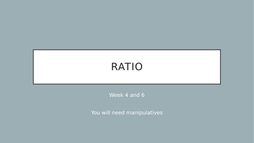 Year 6 introduction to ratio