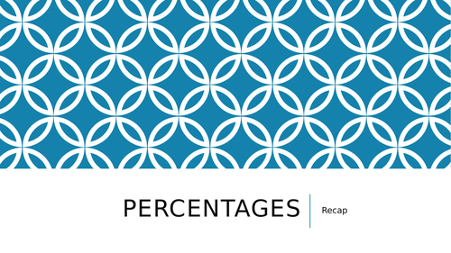 Week teaching sequence - year 6 percentages intro