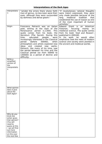Interpretations unit: The Dark Ages introduction (KS3 - lesson 1)