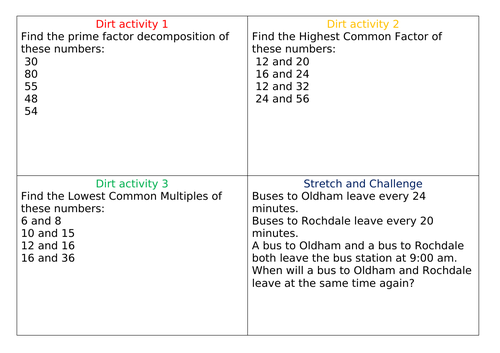 DIRT Task Highest Common Factor (HCF) and Lowest Common Multiple (LCM)