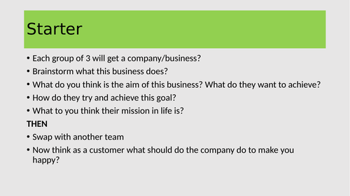 3.1.1 Understanding the Nature and Purpose of Business- Aims and Objectives/Profit