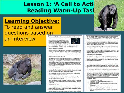 KS3 Reading Assessment – Interview  'Dynasties Chimpanzee'