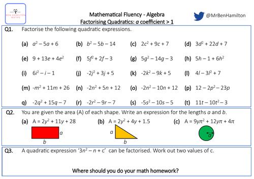 Factorising Quadratic Expressions - 'a' Coefficient Greater Than One - Fluency: Solving Quadratics