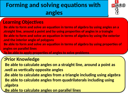 Forming and solving equations from angles