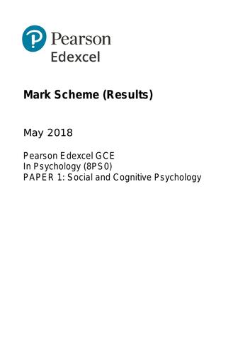 AS - EDEXCEL Psychology Paper 1: Social and Cognitive Psychology (QUESTION / MARK SCHEME)