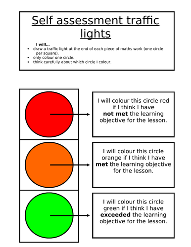 Self Assessment Traffic Light System Resource