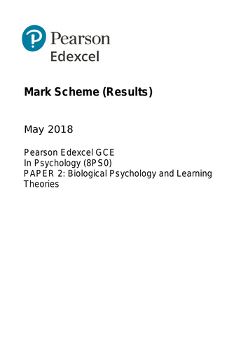 AS - EDEXCEL Psychology Paper 2: Biological Psychology and Learning Theories (QUESTION/MARK SCHEME)