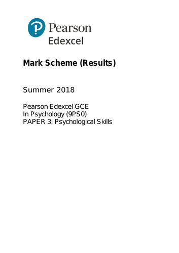 A2 - EDEXCEL Psychology Paper 1, 2 & 3 (QUESTION / MARK SCHEME)