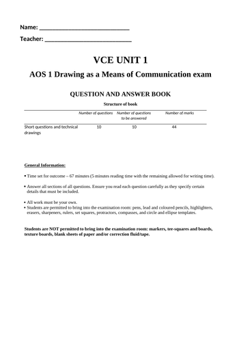 VCE VCD Technical Drawing Exam 1