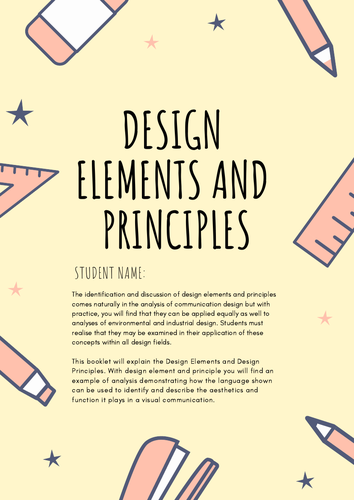 Vce Design Elements And Principles Booklet Teaching Resources