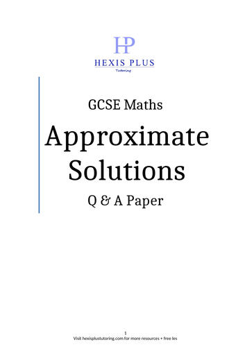 GCSE Maths, Approximate Solutions , Questions Paper