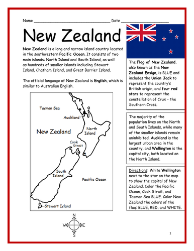 Printable Map Of South Island New Zealand.New Zealand Printable Handout With Map And Flag