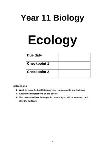 B7 Ecology 'Teach yourself' Activity booklet