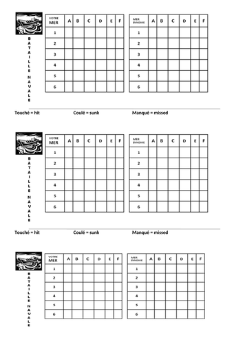 Battleships with verbs (differentiated)
