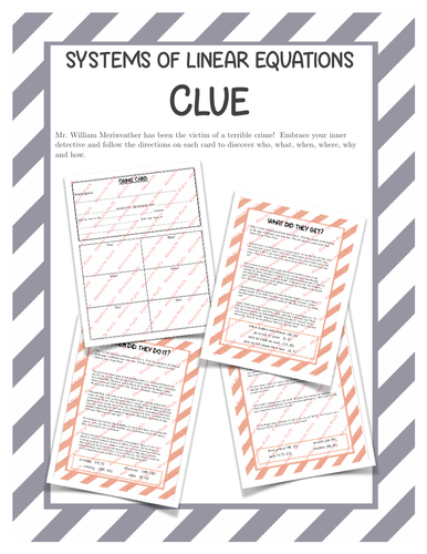 Systems of Linear Equations Clue