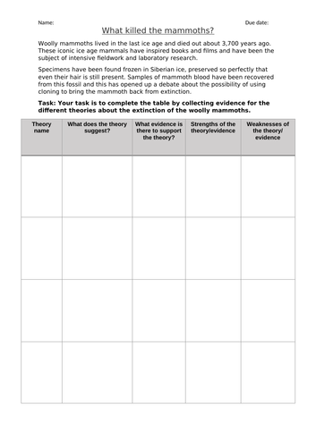AQA new specification-B11.7-Extinction Homework
