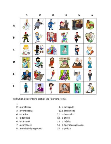 Profissões (Professions in Portuguese) Find it Worksheet