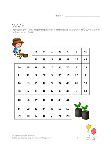 Gardeners maze: skip count by 4