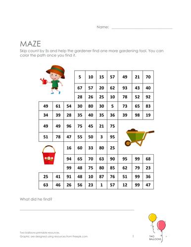 Gardeners maze: skip count by 5