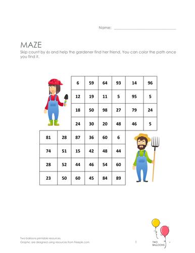 Gardeners maze: skip count by 6