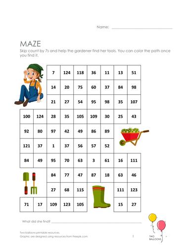 Gardeners maze: skip count by 7