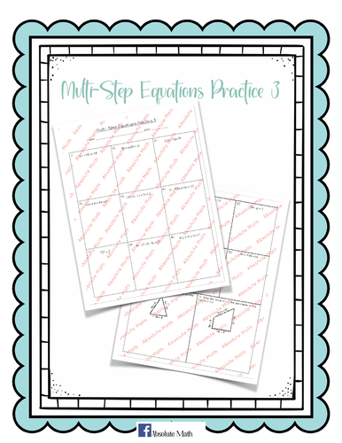 Multi-Step Equations Practice 3