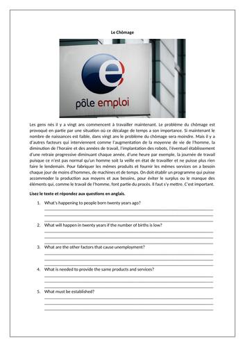 Le Chômage / Unemployment / Work / World of work