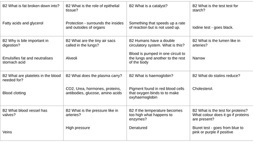 AQA B2 Q&A revision cards - Combined and Triple Content
