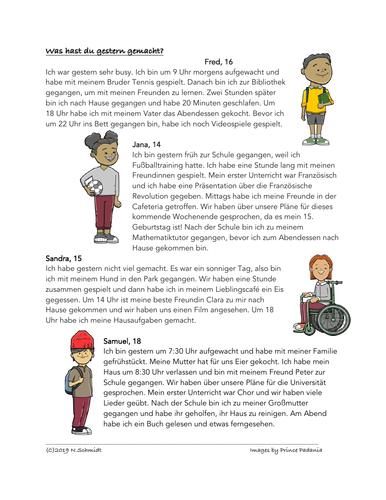 German Past Tense Fun Reading: Was machtest du gestern? (perfekt)