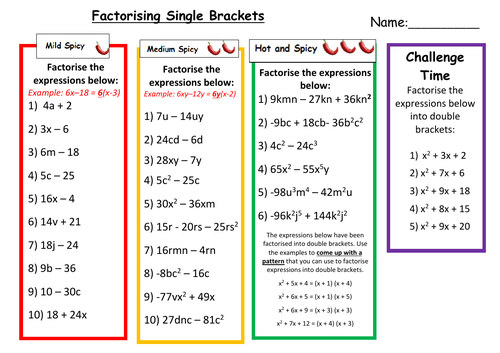 Factorising Single Brackets Differentiated Worksheet with Answers