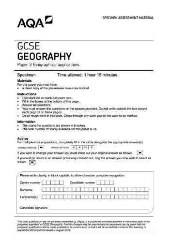 2019 Paper 3 AQA Geography GCSE practice paper