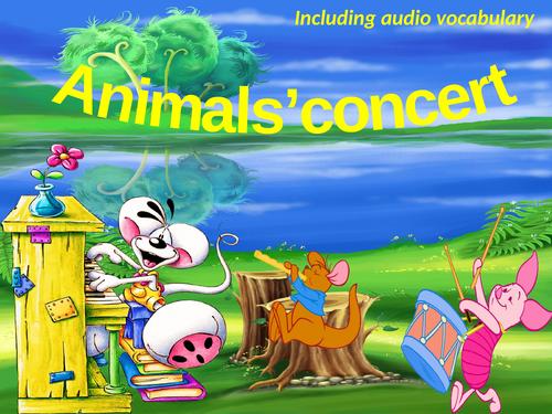 Animals concert. Listening game.