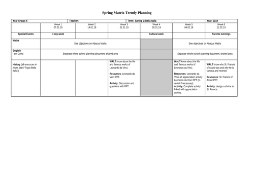 """Whole term topic planning   """"Bella Italia""""  Year 6 (or Year 5)"""