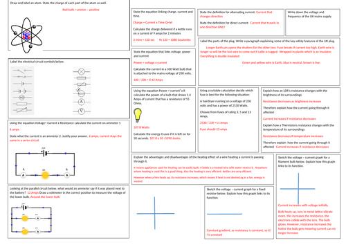 GCSE  Physics Electricity revision mat EDEXCEL