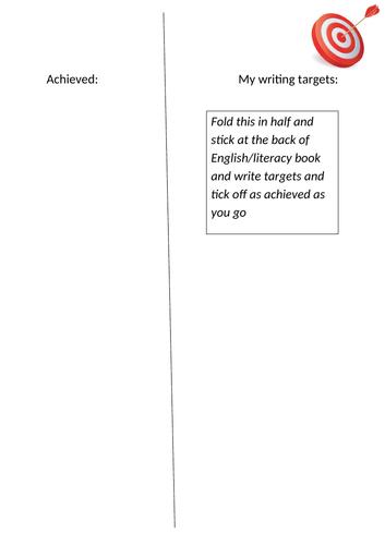 Writing target sheet