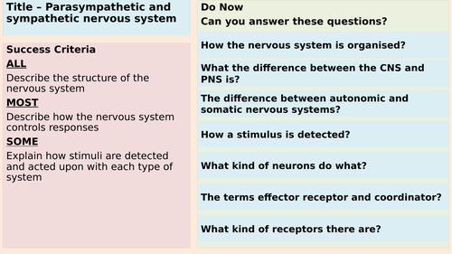 Sympathetic and Parasympathetic nervous system - AQA Applied Science Module 4