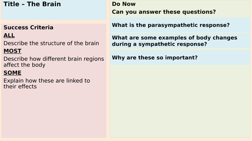 The Brain and brain areas - AQA Applied Science Module 4