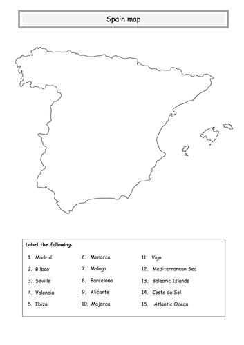 Map Of Spain To Label.Spain Map By Lovelearninggeography Teaching Resources