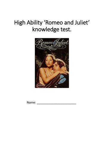High ability 'Romeo and Juliet' knowledge test.