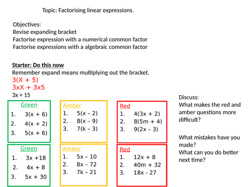factorising a single bracket